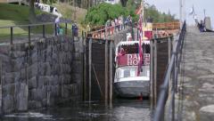 Telemark water canal Norway massive doors close behind ship - stock footage