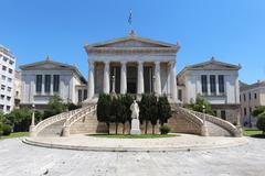 Main building of Athens National Library with Greek flag on the roof Stock Photos