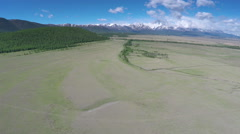 Flight over the mountain valley - Altai, Russia Stock Footage