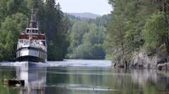 Telemark water canal Norway ship in narrow part of canal Stock Footage