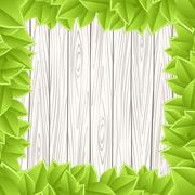 Wooden grey wall green leave Stock Illustration