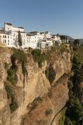Whitewashed houses atop El Tajo Gorge Canyon Ronda Andalusia Spain Europe Stock Photos