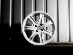 Dismantled custom car wheel - stock photo