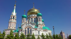 Uspensky Cathedral in Omsk Stock Footage