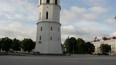 Tilt from the bell tower at Cathedral Square in Vilnius Lithuania Stock Footage