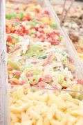 Delicious assortement of sweets on market Stock Photos