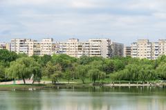 Bucharest Communist Apartment Blocks Skyline - stock photo