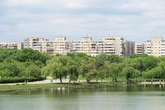 Bucharest Communist Apartment Blocks Skyline Stock Photos