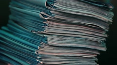 Stack of old papers - stock footage