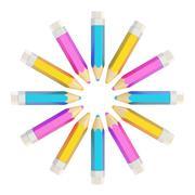 Circle made of pencils isolated Kuvituskuvat