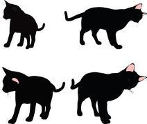 cat silhouette in Rubbing Scent  pose - stock illustration