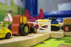 Toy traffic train playground children child play concept Stock Photos