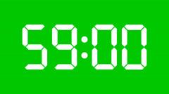 Digital countdown of 60 seconds, regular hundredths - Green sc., Alpha - 60fps Stock Footage