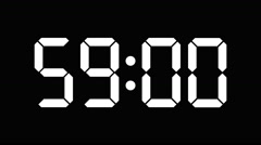 Digital countdown of 60 seconds with complete sixtieths - white on black - 60fps Stock Footage