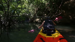 Old man drifts on kayak among over-hanging branches Stock Footage