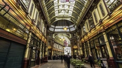 Timelapse of Leadenhall Market in the City of London Stock Footage