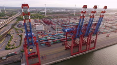 Cargo Container in Hamburg Harbor - stock footage