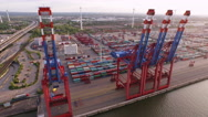 Stock Video Footage of Cargo Container in Hamburg Harbor