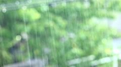 Tropical heavy rain in rainforest background. UHD 4K stock footage Stock Footage