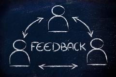 Feedback process, design with group of people interacting Stock Illustration