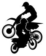 Motocross Dirt Bikes Silhouette Stock Illustration