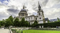 Timelapse of Saint Paul cathedral in London Stock Footage