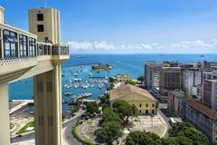 Lacerda Elevator and All Saints Bay in Salvador, Bahia, Brazil Stock Photos