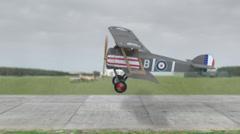 Biggles biplane takoff (model/toy) Stock Footage