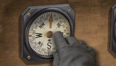 Vintage compass - inconsistent bearing - Lost! Stock Footage