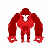 Gorilla big and scary. Strong red Angry monkey. Vector illustration animal on Piirros