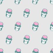 Monkey Brains Gorilla seamless pattern. Vector background of animal heads. Stock Illustration