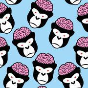 Gorilla seamless pattern. Monkey brains. Vector ornament from animals head. - stock illustration