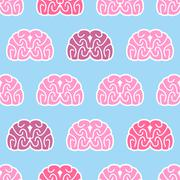 Brains seamless pattern. Background of organs of human head. Anatomical medic Stock Illustration