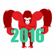 Gorilla keeps numbers 2016. Symbol of  new year red monkey. Vector illustrati Piirros
