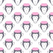 Monkey Brains seamless background. Vector pattern of animals. Stock Illustration
