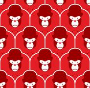 Gorilla seamless pattern. Flock of Angry red big monkey. Background of Group  Stock Illustration