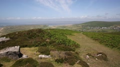 View of Welsh countryside on Rhossili Down The Gower peninsula Wales UK Stock Footage