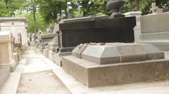Proust Grave at Famous PereLaChaise Cemetery in Paris Stock Footage