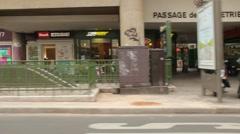 Paris Side Driving Plate past Pompidou Center Stock Footage