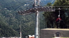 The movement of the cable cars 5. Rosa Khutor Plateau. Stock Footage