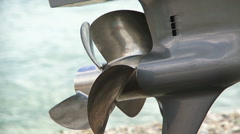 Silver Propeller Of Sailboat Being Motionless Stock Footage