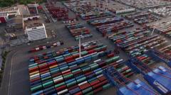 Cargo Container in Hamburg Harbor Stock Footage
