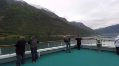 NORWAY-Skjolden - people at pool deck in the cruiseship Stock Footage