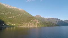 NORWAY-Skjolden - mountains lustrafejorden canal Stock Footage