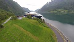 NORWAY - Skjolden - skyview from seawalk to the cruise terminal Stock Footage