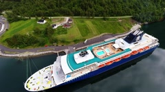 NORWAY - Skjolden - Cruise ship view from the sky 2 Stock Footage