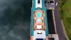 NORWAY - Skjolden - Cruise ship back to forward satellite view Stock Footage