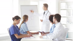 Group of doctors on presentation at hospital Stock Footage