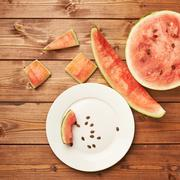 Slices of eaten watermelon composition - stock photo