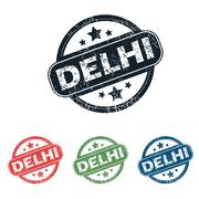 Round Delhi city stamp set - stock illustration